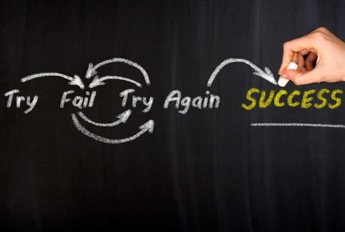 Try, fail, try again, success: steps to reach your goals